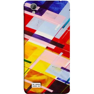 FUSON Designer Back Case Cover For Vivo Y31 :: Vivo Y31L (Bright Beautiful Colour Strips And Band Wave Triangle)