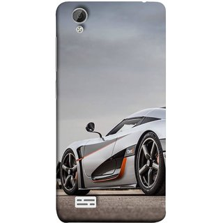 FUSON Designer Back Case Cover For Vivo Y31 :: Vivo Y31L (Sky White Red Clouds Front Lights Tyres Side Mirror)