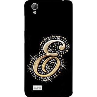 FUSON Designer Back Case Cover For Vivo Y31 :: Vivo Y31L (Gold Framed Alphabet Letter E Filled With Diamonds)