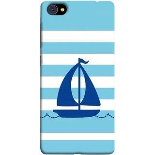 FUSON Designer Back Case Cover For Vivo X7 Plus (Waves Horizontal Strips Color Yacht Navy Ocean Sea )