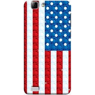 FUSON Designer Back Case Cover For Vivo X3S (United Stated Of America Flag Embroidered Stars)