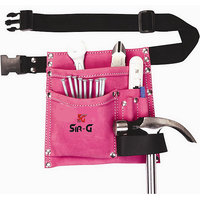 SIR-G, 5 Pocket Suede Leather Pink Tool Bag Pouch Belt