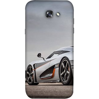 FUSON Designer Back Case Cover For Samsung Galaxy A5 2017 (Sky White Red Clouds Front Lights Tyres Side Mirror)