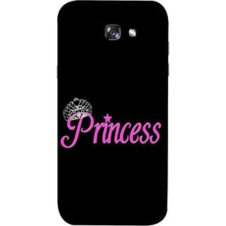 FUSON Designer Back Case Cover For Samsung Galaxy A7 2017 (Silver Crown Of Princess Prince King Baby Pink)