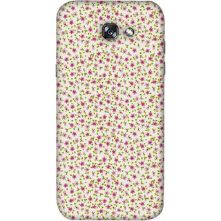 FUSON Designer Back Case Cover For Samsung Galaxy A5 2017 (Pink Lecien Fabric Pink Blue Flower Green Leaf Tiny )