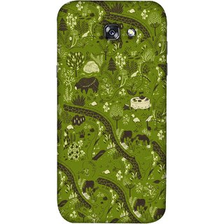 FUSON Designer Back Case Cover For Samsung Galaxy A7 2017 (Green Grass Cow Mushrooms Leaves Branches )