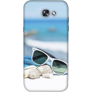 FUSON Designer Back Case Cover For Samsung Galaxy A7 2017 (Summer Vacation Beach Mobile Wallpaper Blue Sky )