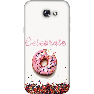 FUSON Designer Back Case Cover For Samsung Galaxy A7 2017 (Pink Donut Eating Lots Of Jellybeans Childrens Fevourite)