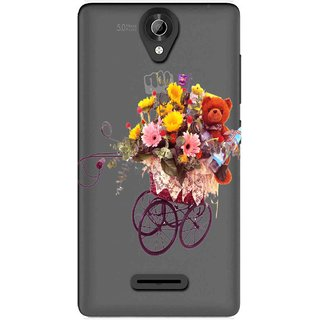 the best attitude 43ead 21259 Snooky Printed Teddy Flower Mobile Back Cover of Micromax Bolt Q332 -  Multicolour
