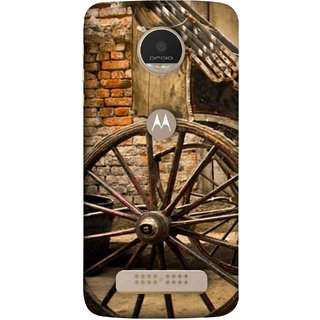 FUSON Designer Back Case Cover For Motorola Moto Z Play (Wheel Hay Cart Old Wagons Indian Cycle Rickshow)
