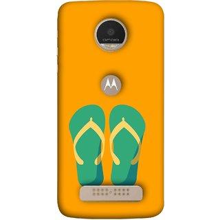FUSON Designer Back Case Cover For Motorola Moto Z Play (Green Chapplas With Yellow Belts On Orange Back)