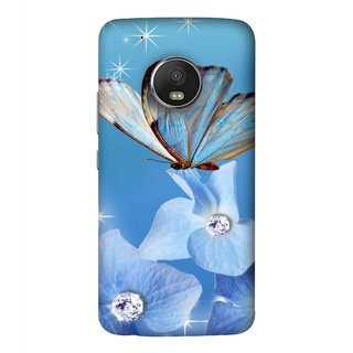 FUSON Designer Back Case Cover For Motorola Moto G5 Plus (In Center Glitter Diamonds Flowers Butterfly Nature)