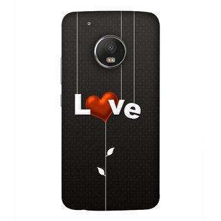 FUSON Designer Back Case Cover For Motorola Moto G5 Plus (Red Hearts Hanging Ropes Free Love Tree Multicolour)