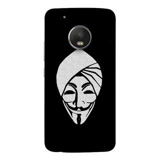 FUSON Designer Back Case Cover For Motorola Moto G5 Plus (Vector Illustration Turban Headdress And Mustache Isolated)
