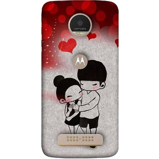 FUSON Designer Back Case Cover For Motorola Moto Z Play (Couple Enjoying Beautiful Lovers Red Hearts)