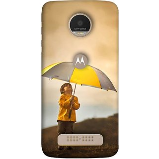 FUSON Designer Back Case Cover For Motorola Moto Z Play (Adorable Little Boy Holding Toy Friend And Umbrella)
