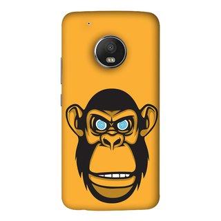 FUSON Designer Back Case Cover For Motorola Moto G5 Plus (Orange Background Open Ears Black Hairs Jungle Nose)