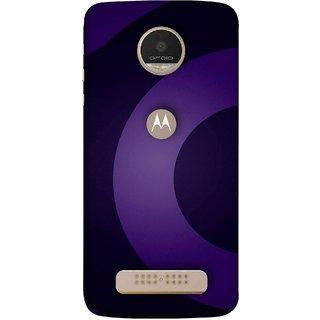FUSON Designer Back Case Cover For Motorola Moto Z Play (Light And Dark Blue Beautiful Pattern Canvas Paint)
