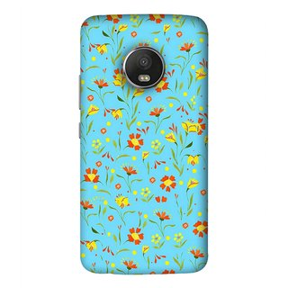 FUSON Designer Back Case Cover For Motorola Moto G5 Plus (Grey Yellow Red Small Checks Background Fresh Flowers)
