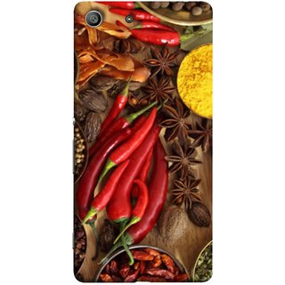 FUSON Designer Back Case Cover For Sony Xperia Z3 Compact :: Sony Xperia Z3 Mini (Set Of Indian Spices On Wooden Table Powder Spices)