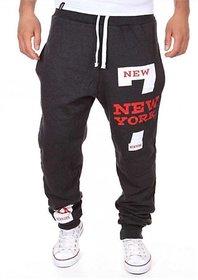 Trendyz Black Poly Cotton Track Pants For Men