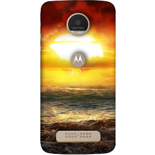 FUSON Designer Back Case Cover For Motorola Moto Z Play (Sunshine Bright Day Sunny Clouds Fuzzy Waves Long )
