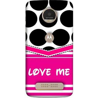 FUSON Designer Back Case Cover For Motorola Moto Z Play (Pink Design Paper Big Black Circles Bubbles )