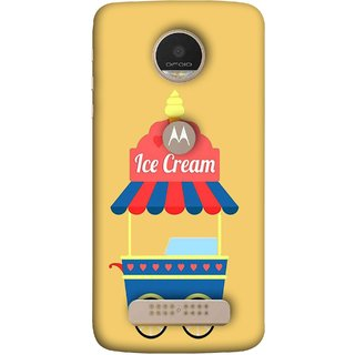 FUSON Designer Back Case Cover For Motorola Moto Z Play (Ice Cone Pineapple Flavour Wheels Hearts Shade )