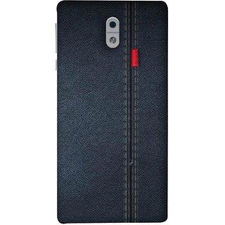 FUSON Designer Back Case Cover For Nokia 3 (Denim Dark Blue Jeans White Thread Boys Love)