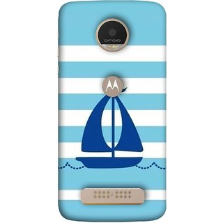 FUSON Designer Back Case Cover For Motorola Moto Z Play (Waves Horizontal Strips Color Yacht Navy Ocean Sea )