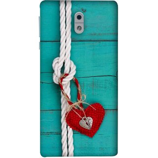 FUSON Designer Back Case Cover For Nokia 3 (Heart Shape Rope Stuffed Toy Text Tied Knot Vintage)