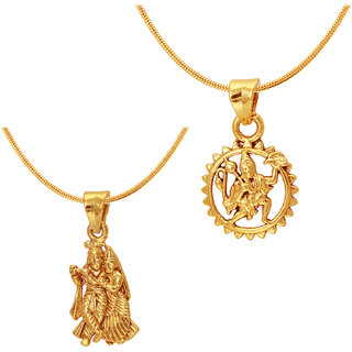 Mahi Gold Plated combo of Two Radha-krishna  Hanuman Unisex God Pendants CO1104595GC
