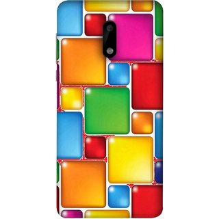 FUSON Designer Back Case Cover For Nokia 6 (Glossy Mat Squares Small Honey Purple Red )