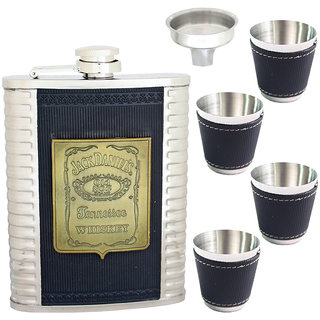 08 oz Drinks STAINLESS STEEL Hip Wine Flask Screw Cap Cups Funnel - 80