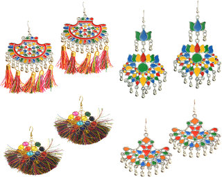 4 Pair of Afghani Earring with Fabric Tassel Combo by Sparkling Jewellery