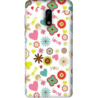 FUSON Designer Back Case Cover For Nokia 6 (Love You Pink Yellow Hearts Snow Red Flowers Garden )