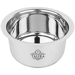 """Taluka ( 9"""" x 5.5"""" Inches approx ) Stainless Steel Induction Friendly Tope/topia/ Bhaguna Capacity :- 2.5 Liter Home Use"""