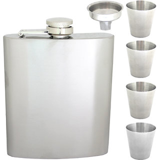 07 oz Drinks STAINLESS STEEL Hip Wine Flask Screw Cap Cups Funnel - 81