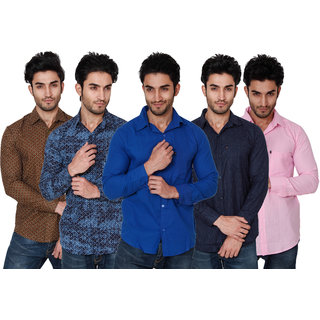 Black Bee Stylish Multi Casual Poly-Cotton Shirts pack of 5