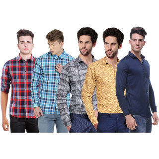 Red Code Multi Casual Poly-Cotton Shirts pack of 5