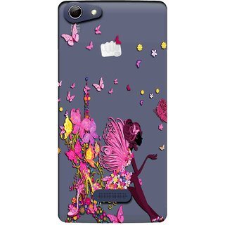 Snooky Printed Butterfly Mobile Back Cover of Micromax Canvas Selfie 3 Q348 - Multicolour