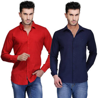 Red Code Solid Casual Poly Cotton Shirts pack of 2