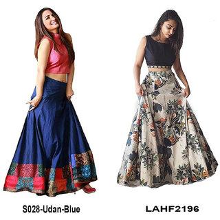 Aika Bhagalpuri Printed Taffeta Digital printed lahenga choli For Women JP LAHENGA UDAN BLUE