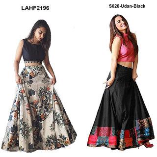 Aika Bhagalpuri Printed Taffeta Digital printed lahenga choli For Women JP LAHENGA UDAN BLACK
