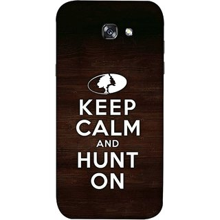 FUSON Designer Back Case Cover For Samsung Galaxy A3 2017 (World Logo Keep Silent And Cool Hunting Always)