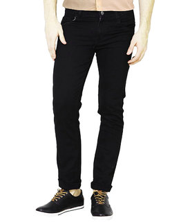 Masterly weft trendy black color jeans for men