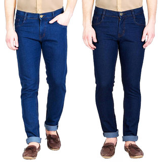 Masterly Weft Men's Pack of 2  Slim Fit Multicolor Jeans