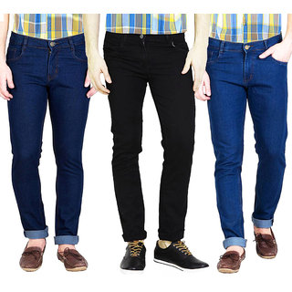 Masterly Weft Men's Pack of 3  Slim Fit Multicolor Jeans
