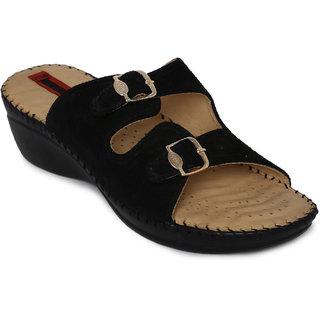 1 WALK COMFORTABLE DR SOLE WOMEN-FLATS/SANDALS/FANCY WEAR/PARTY WEAR/ORIGINAL/CASUAL FOOTWEAR-ADR-B100A-Black