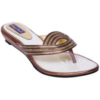 VIREN Women's Gold Synthetic Stylish, Party Wear Sandals (36-41 Euro)